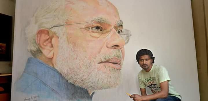 Manoj_Joshi_Narendra_Modi_Painting_world_records
