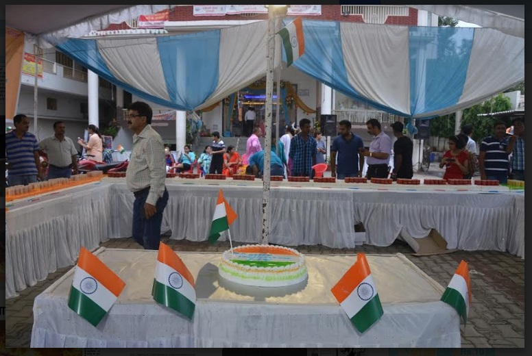 MOST CANDLES LIT TO CELEBRATE  70TH INDIAN INDEPENDENCE DAY ON CAKE