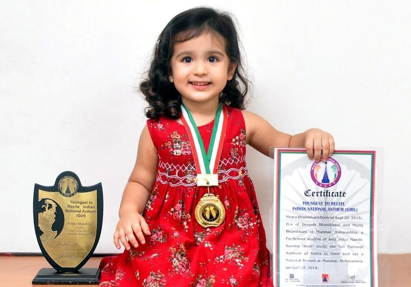 YOUNGEST TO RECITED INDIAN NATIONAL ANTHEM (GIRL)