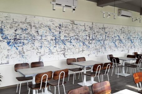 LARGEST ABSTRACT PAINTING INSTALLED INSIDE RESTAURANT.