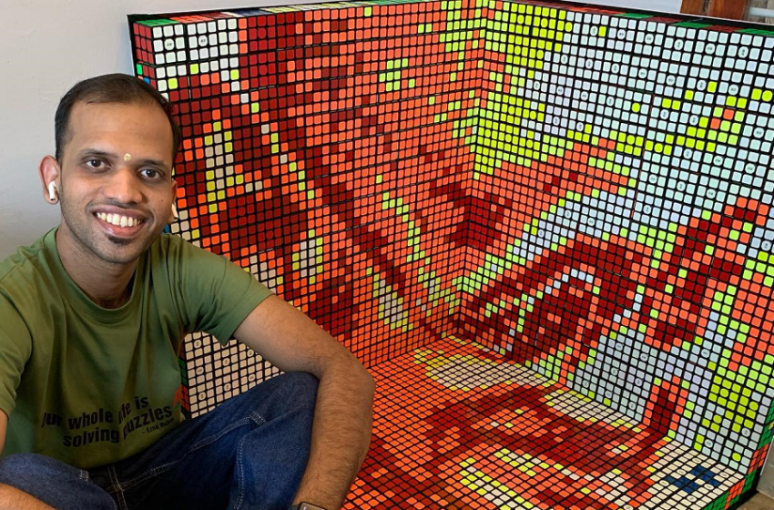 FIRST-EVER 3D RUBIK'S CUBE MOSAIC PORTRAIT IN THE COUNTRY