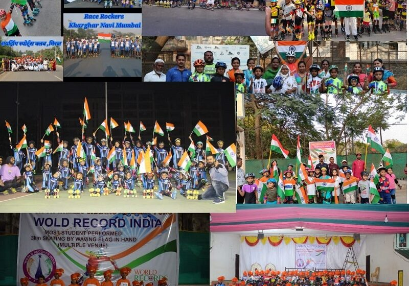 MOST STUDENTS PERFORMED 3KM SKATING BY WAVING FLAG IN HAND (MULTIPLE VENUE)